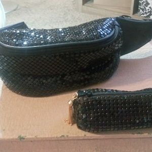 Black beaded / sequin Waist Bag with matching smal